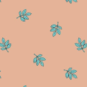 Little delicate spring leaves new life boho garden scandinavian style nursery design apricot peach blue