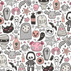 Halloween Doodle Skulls,Spiders,Skeleton,Bat, Ghost,Web, Zombies  Pink Peach on White Smaller 2 inch