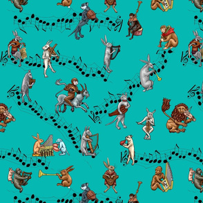 Medieval Musical Animals large turquoise