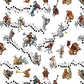 Medieval Musical Animals large white