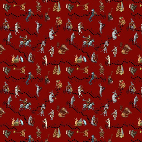 Medieval Musical Animals small red