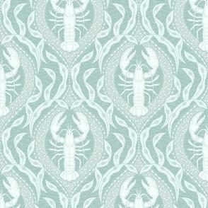 Lobster and Seaweed Nautical Damask - seafoam blue teal aqua - medium scale
