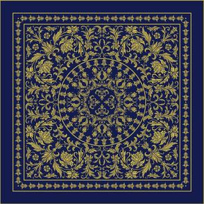 Victorian scarf navy gold