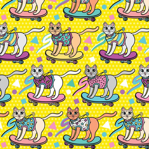 80's Skater Cats in Yellow
