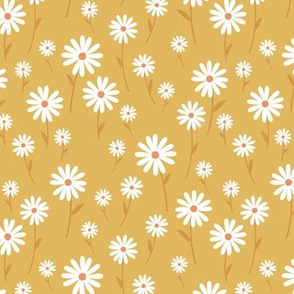 Sweet summer day boho daisies and blossom garden little branches nursery mustard yellow ochre white