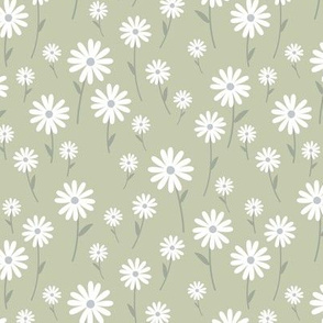 Sweet summer day boho daisies and blossom garden little branches nursery mint olive green white gray