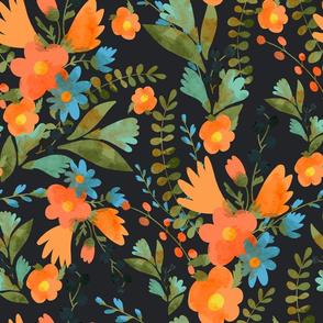 Orange blue flowers