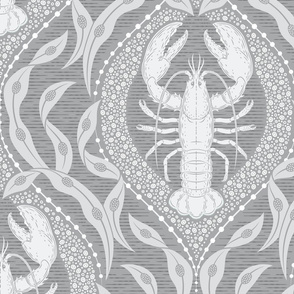 Lobster and Seaweed Nautical Damask - grey - large scale