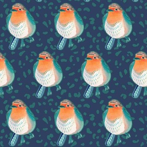 Mid-Century Robin Birds on Deep Blue