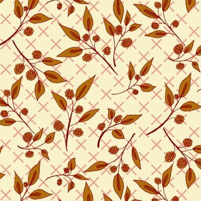 Autumn Brazenberry Clusters on Rich Cream Lattice (#8)