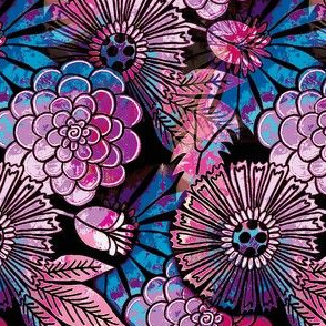 retro flowers purple