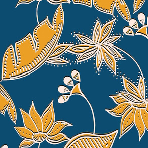 Boho Tropical Blue and Yellow