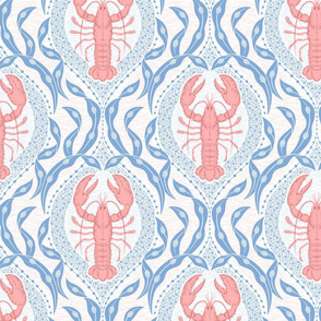 Lobster and Seaweed Nautical Damask - white, coral pink, cornflower blue-medium scale