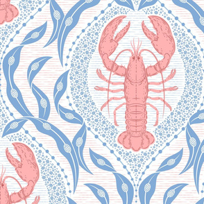 Lobster and Seaweed Nautical Damask - white, coral pink, cornflower blue - large scale