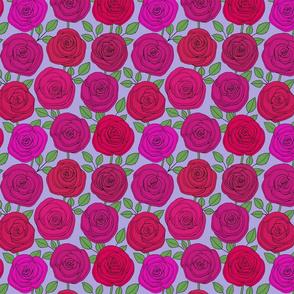 rose red roses line floral on lavender