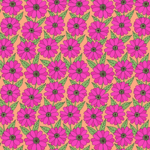 hot pink zinnia line drawing floral on orange