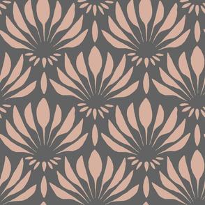 Art Deco Pink Palm Gray Background