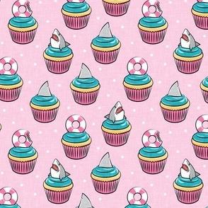 Shark cupcakes - great white shark birthday - pink - LAD21