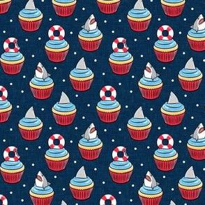 (small scale) Shark cupcakes - great white shark birthday - navy - LAD21