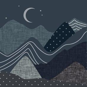 "9"" square: slate and nautilus layered mountains"
