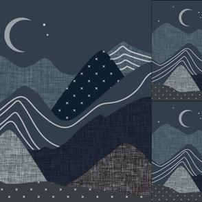 1 blanket + 2 loveys: slate and nautilus layered mountains