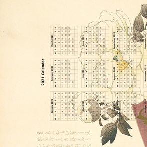 2021 Tea towel  Calendar - Flower