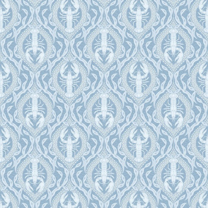 Lobster and Seaweed Nautical Damask - french blue - small scale