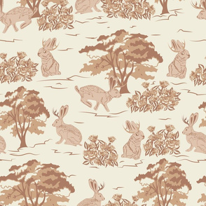 Jackalope Toile- Woodland in Spring- Burnt Almond Desert Sand Tan Rabbit Trees and Rose bushes on Eggshell Background- Large Scale