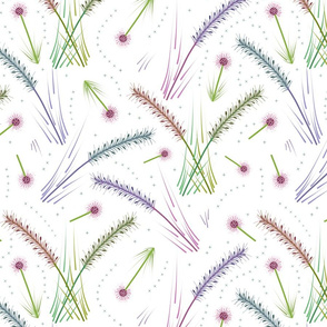 Wild Grassland Flourish - white, large
