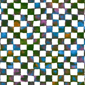 flowery meadow watercolor checkerboard