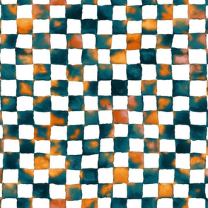 turquoise and terracotta watercolor checkerboard