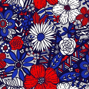 Floral Frenzy (Red White and Blue)