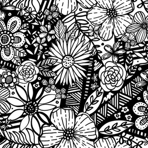 Floral Frenzy (Black and White)