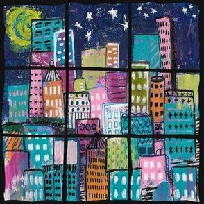 Million Dollar View - Cityscape under a full moon