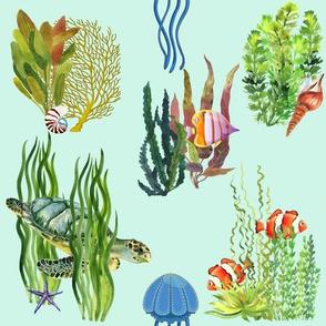 Green Ocean Seagrass Watercolor