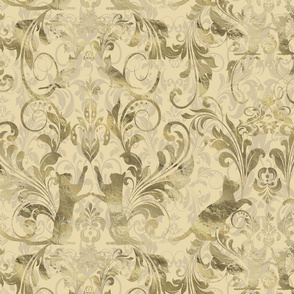 cat damask gold texture_cream