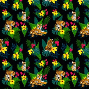 Tigers on black with tropical flowers