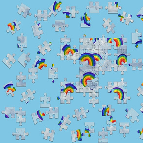jigsaw rainbows clouds and raindrops-blue-grey-red-orange-yellow-green-blue-violet