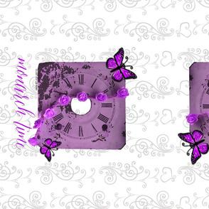 Clock Butterfly Tea Towel Purple