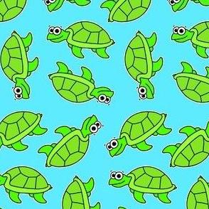 Cute Turtle - on blue