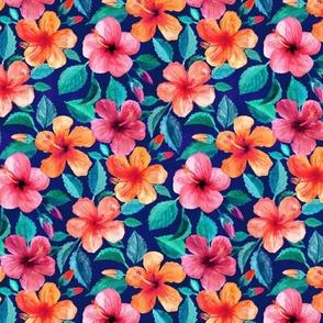 Colorful Watercolor Hibiscus on Indigo - custom small print