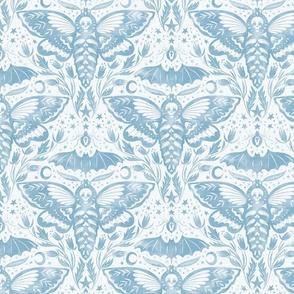 Skull Moth Damask - Dove Blue