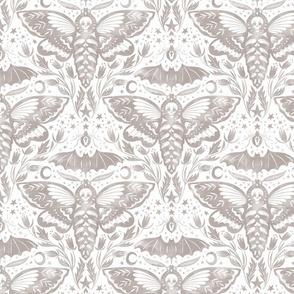 Skull Moth Damask - Gray