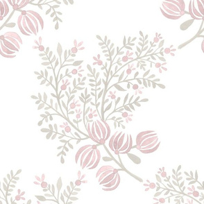 Putty and Blush On white EMMA FLORAL TOSS.