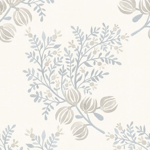 Putty soft Blue On Cream EMMA FLORAL TOSS.