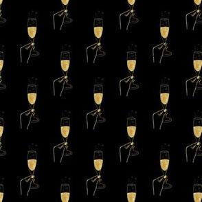 Cheers Champagne glasses Gold on black