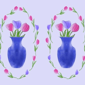 Transparent Tulips on Lavender Panel
