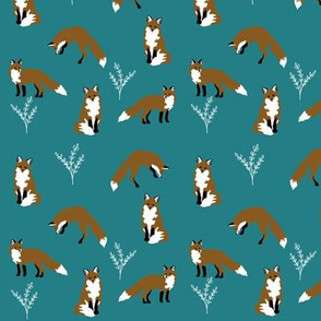 Clever Fox Pattern on blue turquoise