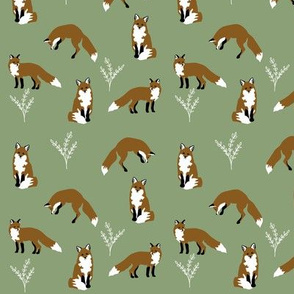 Clever Fox on sage green