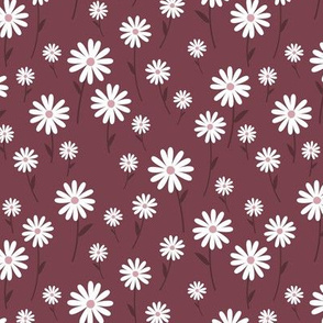 Sweet summer day boho daisies and blossom garden little branches nursery berry maroon white
